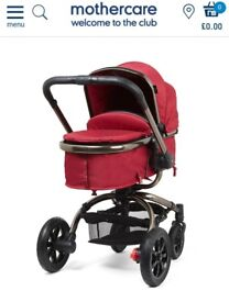 MOTHERCARE ORB RED AND ROSE GOLD PRAM STROLLER BUGGY TRAVEL SYSTEM
