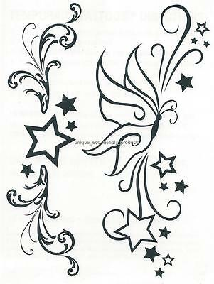 DESIGNER LARGE SHEET ~ BUTTERFLY AND STARS temporary Tattoo lower back tramp Butterfly Lower Back Temporary Tattoo