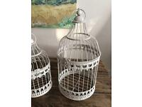 Shabby Chic Vintage Round Ivory Birdcages Table Centrepiece SOLD AS PAIR