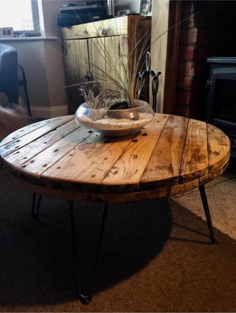 Upcycled Bespoke Cable Reel Coffee Table With Hairpin Legs