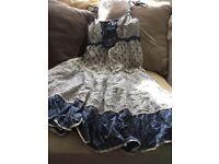 Blue cream summer dress