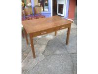 Charming Vintage Rustic Oak Veneer Kitchen Table Desk with 2 Drawers