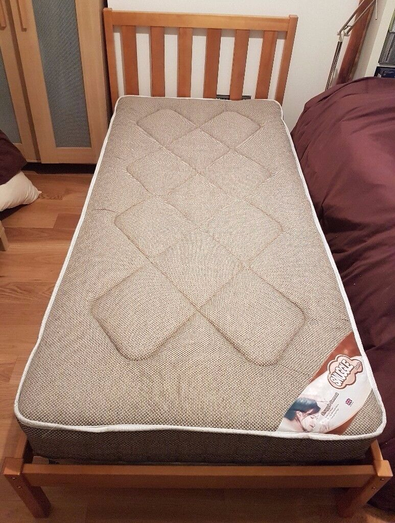 Dreams Sandhurst pine wooden single bed frame and mattress for sale. £100 ono