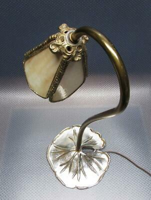 - Art Nouveau Goose Neck Desk Lamp Lily Pad Base with Slag Glass Shade