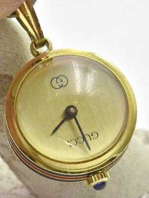 Vintage GUCCI Gold Plated Blue & Red Enamel Designer Ladies Necklace Ball Watch