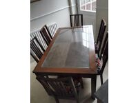 Dining Table, 6 chairs + 2 table nest + corner table. All glass topped.