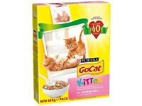 2 Boxes of Purina Go-Cat Dry Kitten Food 825g with Chicken, Milk & Added Veg