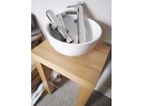 Stylish Bowl Basin and Solid Wooden base/table