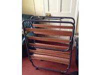Camp bed wooden slats & tubular frame