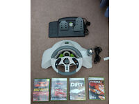 Mad Catz 2 MC2 Steering Wheel and Pedals Xbox 360 + 4 Games: Dirt, Cars, Forza 2, Toca
