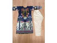 Indian/pakistani 2 piece summer suit with embroidery.