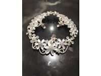 Bridal hair piece, silver flowers