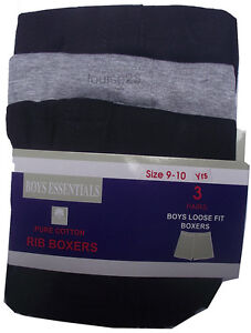 K09 BOYS 6prs PURE COTTON BOXERS BOXER SHORTS UNDERWEAR LOOSE FIT 9-10/11-12yrs