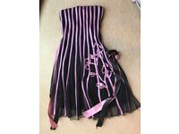 EUROPEAN DESIGNER PINK STRIPE DRESS, UK 8/10
