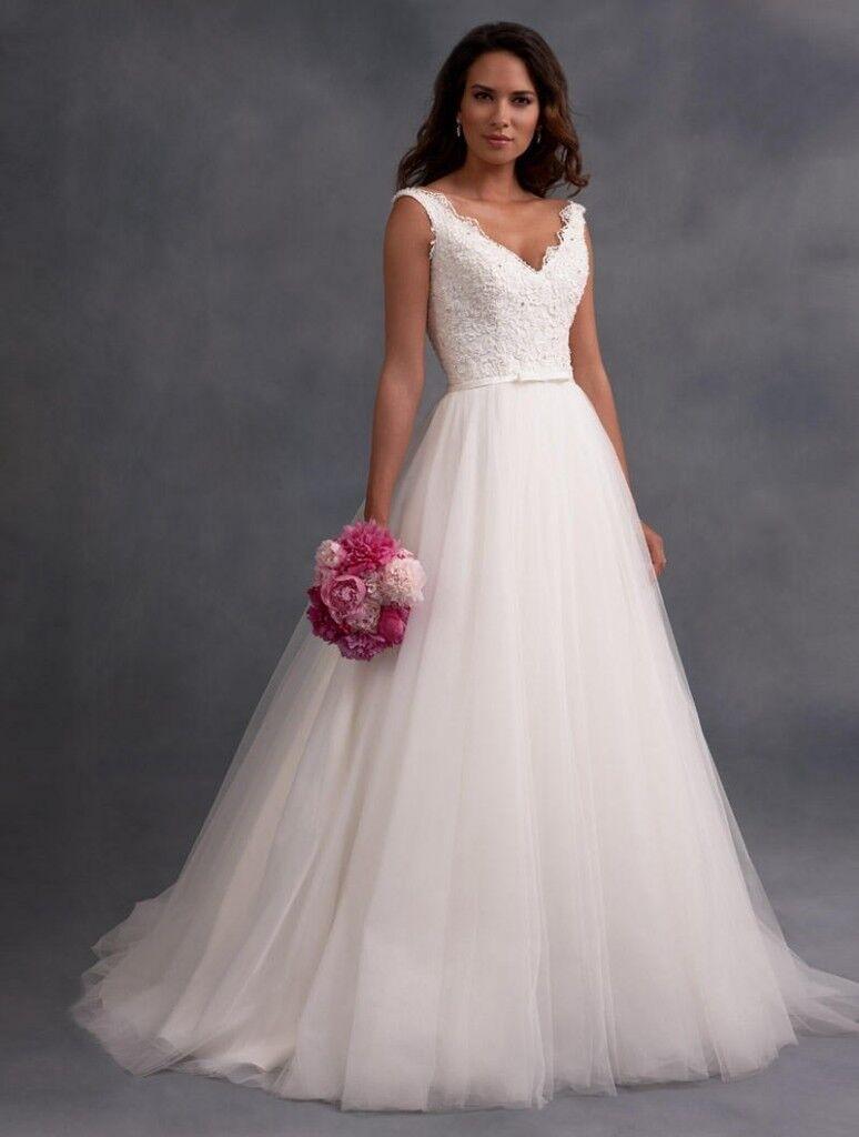 Wedding Dress Alfred Angelo Size Uk 14 Ivory Low Back V Neck