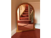Mirror. Pine effect arched mirror