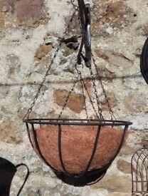 Pair of wrought iron hanging baskets