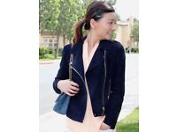 'Mango' Dark Blue Real Suede Leather Jacket