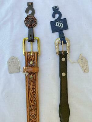2 New Girls Boys Western Leather Belts 3D Size 20 3301 & Circle Y Size 18 Tooled