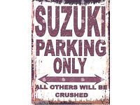 SUZUKI PARKING SIGN RETRO VINTAGE STYLE 8x10in 20x25cm garage workshop art