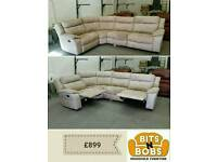 Champagne grey corner sofa recliner
