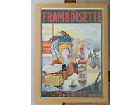 LA FRAMBOISETTE, ART NOUVEAU FRAMED LARGE PRINT , FRENCH, WOODEN FRAME, FRANCIS TOMAGNO, 1905