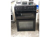 6 MONTHS WARRANTY Black Beko 60cm, AA energy rated, double oven electric cooker FREE DELIVERY