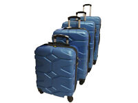 4 Pcs Blue 4 Wheels Light Weight Hard Suitcases Trolley Cabin Travel Plane Holiday Luggage Holiday