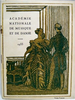 NATIONAL ACADEMY OF MUSIC & DANCE PARIS FRANCE PROGRAM BROCHURE 1933 VINTAGE