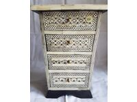 Ornate Mother of Pearl Mini Wooden Chest of Drawers Jewellery Box from The Pier