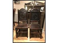 Pair of Antique Victorian 18th Century Style Oak Hall Chairs