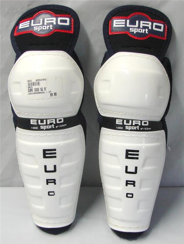 "Euro Sport 1000 SG Junior Hockey Shin Guards White Blue 9"" NEW"