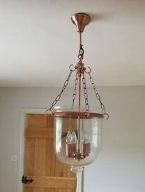 Large Clear Glass Bell Jar Pendant Lantern