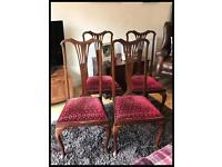 Set of four 1930's Queen Anne Style Mahogany Dining Chairs