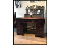REPRODUCTION MAHOGANY TWIN PEDESTAL, EIGHT DRAWER, WRITING DESK