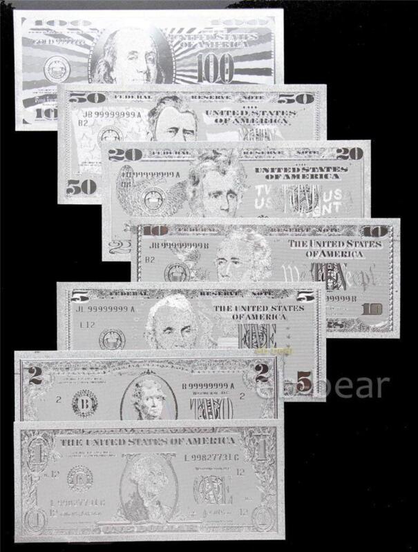Lots 7 Pcs US dollar Silver Banknote Crafts Full Set Unusual Beautifully