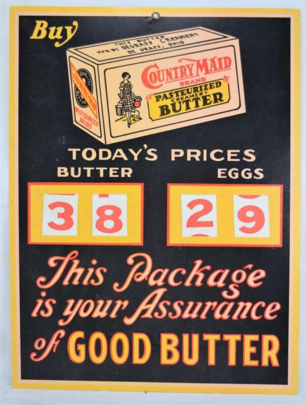 Vintage Country Maid Butter Cardboard Store Changeable Price Sign MINT