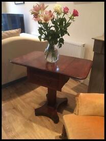 ANTIQUE VICTORIAN MAHOGANY DROP FLAP SIDE TABLE