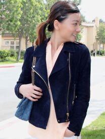 Mango Original Dark Blue Suede Leather Jacket