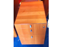 office pedestal 3 drawers cherry colour