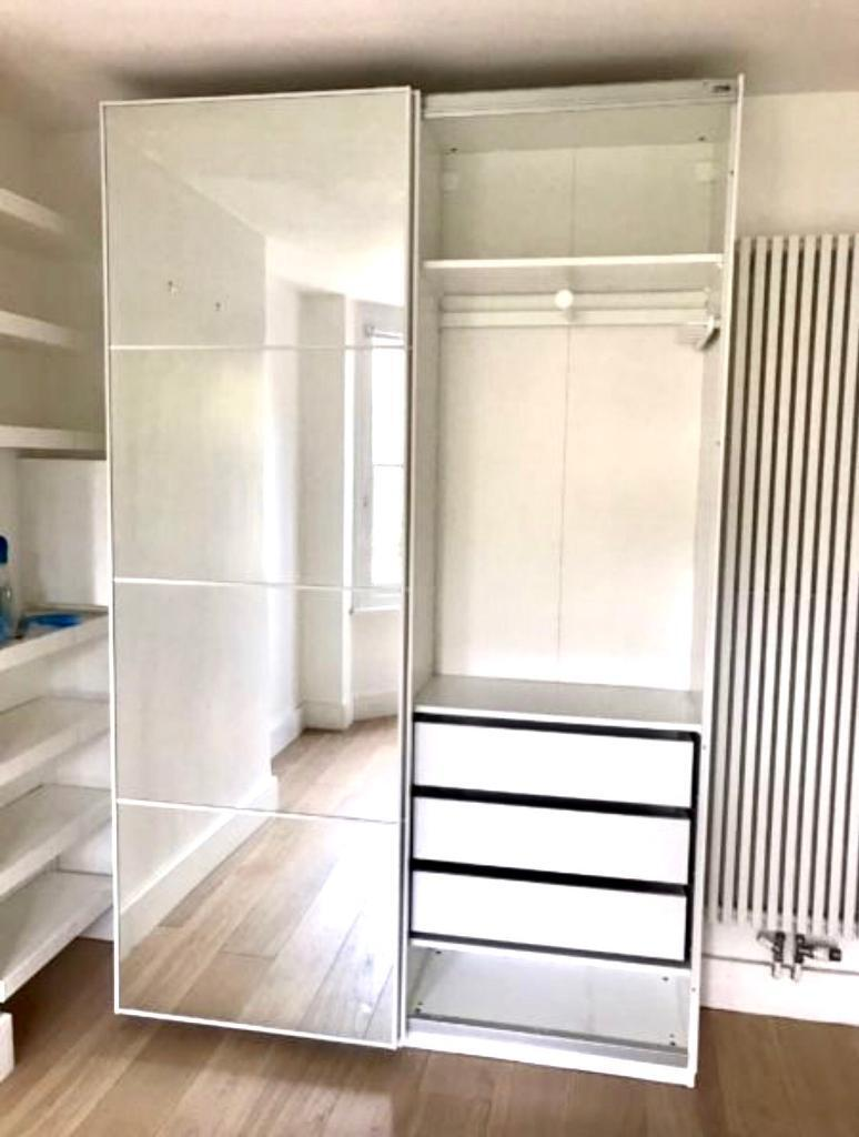 ikea pax wardrobe with sliding mirror u0026 hasvik glass doors coordi white intext