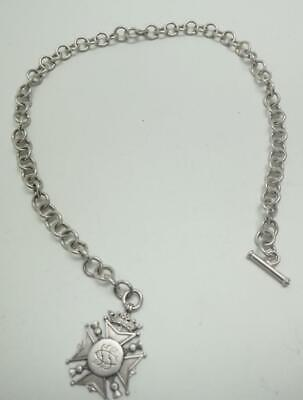 Solid Silver Watch Chain & Fob - Pocket Watch Chain & T Bar 55 grams