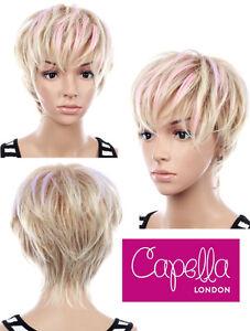Pixie Cut Short Platinum Blonde Pastel Pink Lilac Wig With Fringe