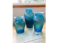 Hand Blown Blue Glass Vases Set of Three