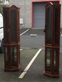 Pair of Corner mahogany units (£85 for both)