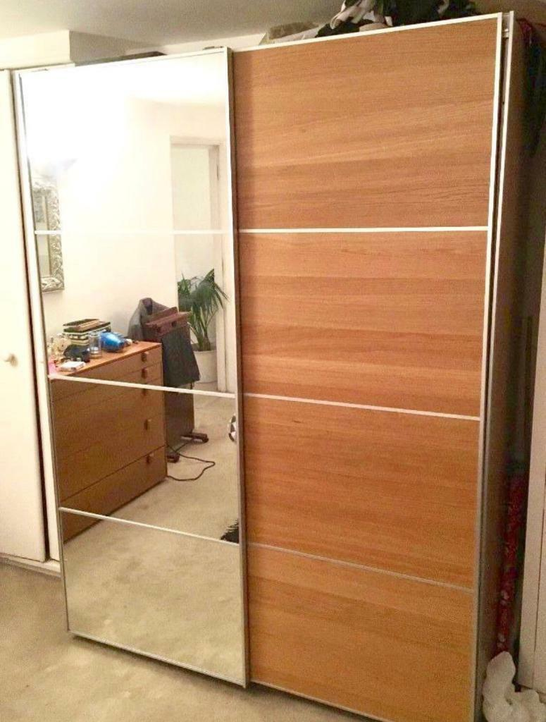 Ikea Pax Wardrobe With Half Mirrored Glasshalf Ilseng Oak Sliding