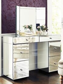 ALMOST BRAND NEW NEXT DECO MIRRORED DRESSING TABLE, MIRROR & STOOL