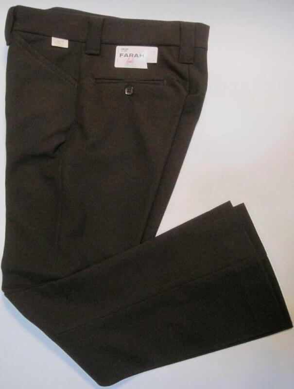 FARAH Knits Boys BROWN Vintage Sz 11 Flare Pants 25.5Wx25L 100% Polyester 1980s