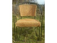 Wrought Iron and Wicker Furniture Set - very good condition