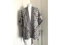 Next White and Navy Poncho Cardigan